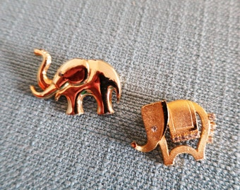 Pair of Gold-Toned Elephant Brooches