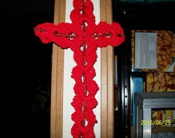 "Rustic Wall Cross in Crochet Red with Sparkly Red Center - 6"" x 10"""