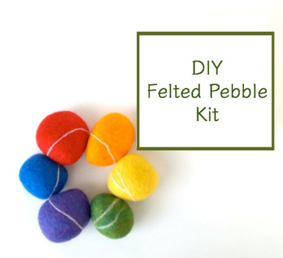 Needle Felting Kit Beginner - Felted Pebble Kit - Wool Stone Rock Kit - DIY Craft Kit - Children - Kids