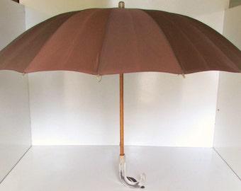 Vintage Umbrella Parasol Brown Lucite Handle Chocolate Brown