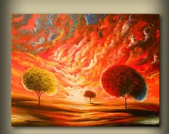 "Acrylic art canvas painting wall art modern abstract painting wall decor acrylic lollipop tree wall decor folk art landscape painting 28"""