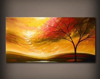 art large painting yellow blue abstract landscape art wall art original painting home decor 48 x 24