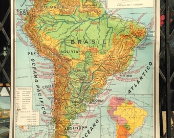 Vintage 1940s Mexican Classroom School Map of SOUTH AMERICA