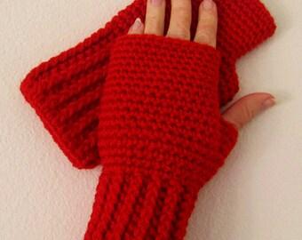 Crochetted Fingerless Gloves / Wrist Warmers - Scarlet
