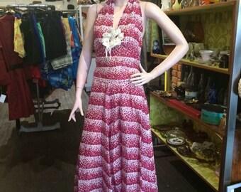 Vintage 30s / 40s cotton halter long beach dress //rare//deco//floral