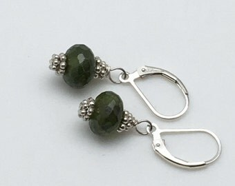 Green Resinite Earrings, Green Earrings, Spring Earrings, Mothers Day Earrings, Resinite and Bali Silver, Easter Earrings