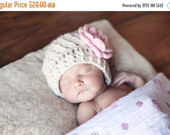 ON SALE Baby Girl Crochet Baby Beanie Hat,  Winter Baby Beanie Hat With Flower, Baby Girl Hat,  Baby Beanie, Baby Hat, READY To Ship , 6-12