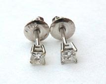 14K White Gold Diamond Post Earrings Square Cut Diamond Threaded Post .20 TW