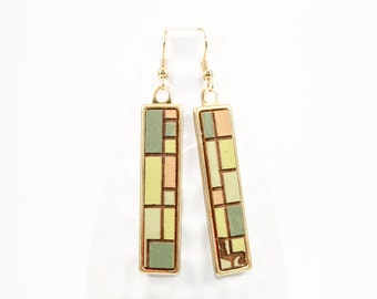 Geometric Aerial Farmland Pattern Dangle Earrings - Laser Cut Hand Painted Wood in Brass Setting
