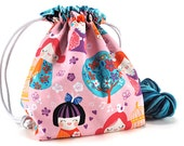 Knitting Crochet Project Bag *with yarn guide* - Cherry Blossom