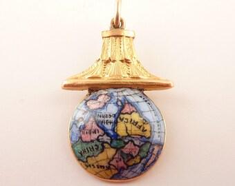 Antique 14K Gold and Enamel Detailed Globe Charm or Pendant