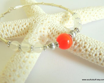 Cat's Eye Bangle, UV Sensitive Bangle Bracelet, Orange Gemstone, Handcrafted Jewelry, Color Changing, One Size Fits Most
