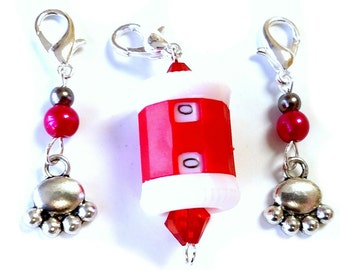 Zipper Pull  - Stitch Markers - Set of 3 - Cozy Cats (Grey)