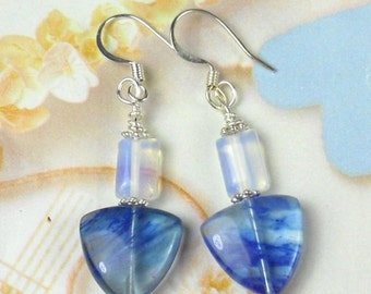 ON SALE 20% OFF Blueberry Quartz and Opalite Dangle earrings