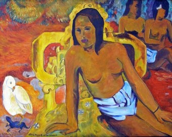 Vairumati, 18x24, after Gauguin, Orange Brown Yellow painting, Impressionist Art, Direct Copy Gauguin