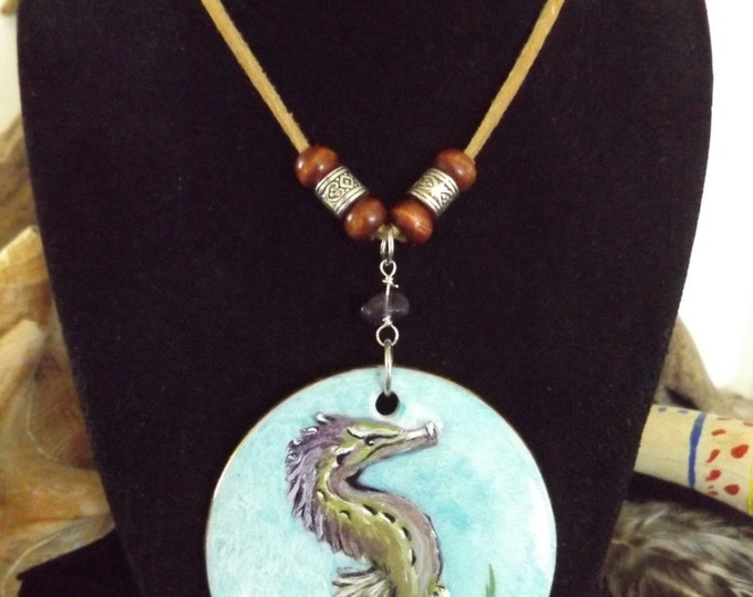 Hand Painted Seahorse Pendant, Mystical Mermaid Jewelry, Beach Boho Jewelry, Mermaid Jewelry, Seahorse Necklace, Nautical Jewelry