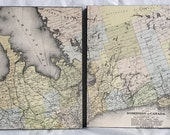 1880 Antique Map of Ontario Counties Mounted on 2 Wooden Panels - Bruce - Grey - Simcoe - Hand Coloured - Ready to Hang
