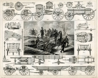 Antique Print on Artillery and Pontoon Cartridges - 1852 Vintage Military Print - Gift for Him - Plate 38