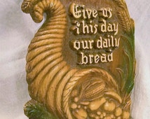 Give Us This Day Our Daily Bread, Religious Wall Hanging, USA, religious wall plaque, 1950s