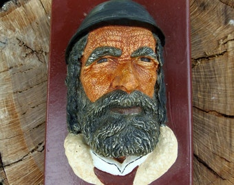 1970's Bosson-esque Style Vintage Chalk Ware Decorative Wall  Face, Romanian 3D Chalk Ware Wall Plaque, Head Shepherd Face