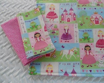 Kids Lunchbox Set, Fairytale Princess, Placemat and Two Napkins, School Placemat Set, Pink Flowers Napkin, Princess Placemat,