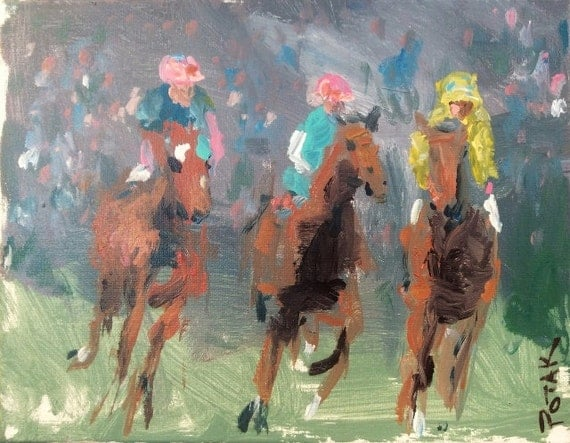"Original Impressionist Horse Racing Painting, Jockeys, Kentucky Derby, Saratoga Raceway, equestrian art 11 x 14"" canvas,  Art by Russ Potak"