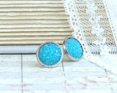 Aqua Blue Earrings Clearance Sale Druzy Stud Earrings Blue Druzy Earrings Clearance Jewelry Druzy Earrings