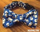 Winter Snowman Dog Bowtie Set - Snowman Dog Bow Tie and Collar Set - Dog Collar Bow Tie Set - Cat Collar Bowtie Set - Snowman Dog Bowtie