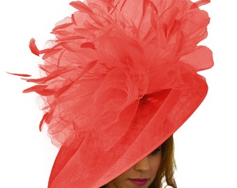 Mundhoo Red Fascinator Hatinator Hat for Kentucky Derby, Weddings on a Headband (20 colours available)