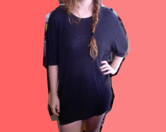 Black Knit Tee Shirt Sack Dress Goth Witch 90s Silk