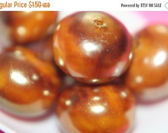 ON SALE Tanned Metallic Bronze Lucite Rondelle Beads- 14mm x 10mm - 10 pcs