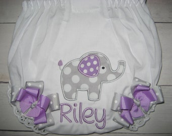 Birthday elephant monogrammed bloomers with bows