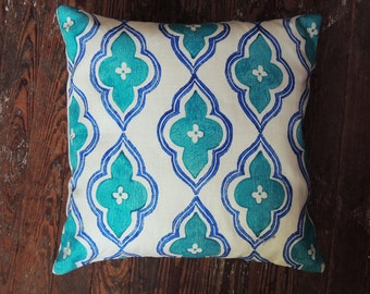 turquoise and ultramarine blue hand block printed geometric ogee decorative colorful linen pillow case