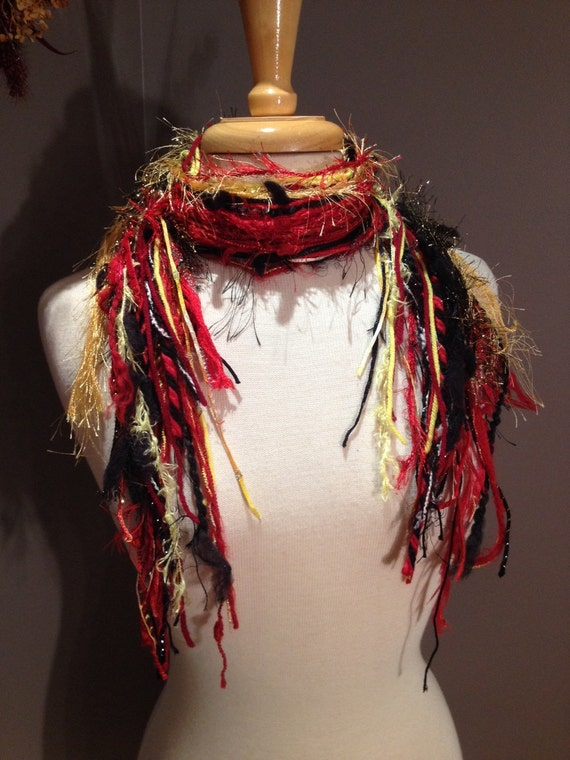 SALE Medium Fringie in Black Red and Gold - 49ers, Blackhawks - Fringe Art Scarf - Fringe scarves, Team color scarf red gold yellow, black