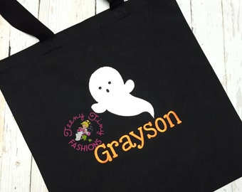 Kids Halloween bag ~ Halloween tote ~ Trick or Treat bag ~ Candy bag ~ Personalized Halloween bag ~ Ghost Trick or Treat bag