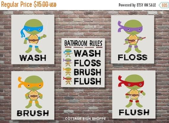 On Sale Ninja Turtles Bathroom Rules Teenage By