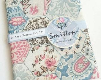 Denim Blue, Soft Peach, Coral, Beige & Chocolate Brown Hexi EPP English Paper Piecing Patchwork Print Vintage Fabric Fat Quarter