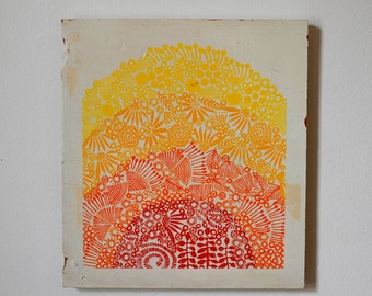Reclaimed Repurposed Wood-Upcycled Hand Printed wall art-ready to hang-Sun-hand stamped home decor