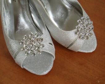 Bridal Shoe Clips Wedding shoeclips bridal shoes, womens shoes, rhinestone - Use on HEELS or FLATS