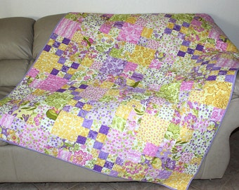 Summer Quilted Sofa Throw, Lap Quilt with Pastel Cotton Moda Eden Fabrics. Yellow, Lavender, Large Pink Quilted Throw Blanket