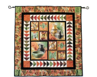 Fathers Day - Indian Pottery Quilted Wall Hanging, Southwest Wall Hanging in Black, Rust, Gray and Green with Flying Geese Border