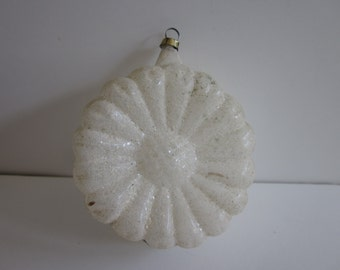 Vintage white frosted flower ornament.