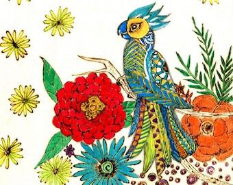 Zen doodle Woodburned Panel Colorful Parrot