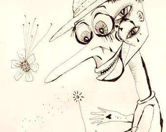 original drawing - Pinocio Holds His Own Magic