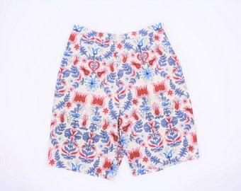 "1960s shorts vintage 60s damask novelty print long high waist shorts S/M W 26"""
