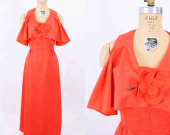 1970s dress vintage 70s red flower pin draped top maxi dress S