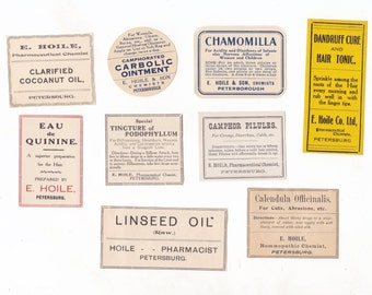 Vintage Australian Chemist Labels | Drug Store Pharmacy Medicine Bottle Labels | Apothecary | Lot of 9 Australian Ephemera