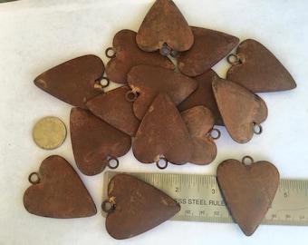 3 Rusty Steel Puffy Heart Pendants