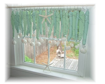 Minty Fresh  Driftwood Beachy Keen   Window Treament  Valance Curtain Bathroom Kitchen Dining room