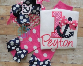 First Birthday Outfit for Baby Girl---Anchors Away Collection---Hot Pink and Navy Bodysuit or Shirt--Nautical Birthday--First Birthday